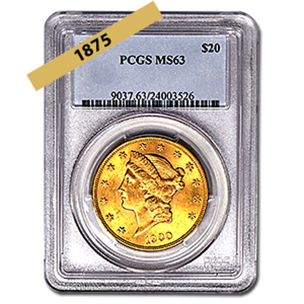Picture of 1875 $20 Gold Liberty Double Eagle Coin MS63