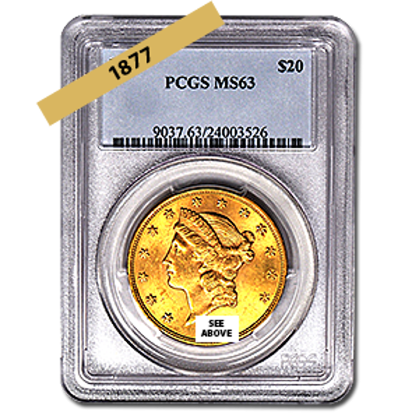 Picture of 1877 $20 Gold Liberty Double Eagle Coin MS63