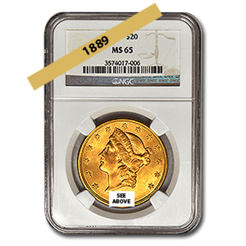 Picture of 1889 $20 Gold Liberty Double Eagle Coin MS65