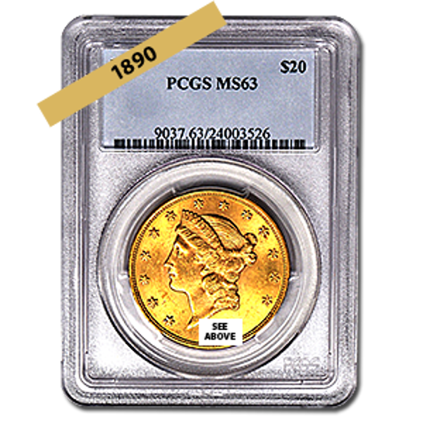 Picture of 1890 $20 Gold Liberty Double Eagle Coin MS63