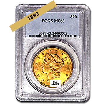 Picture of 1893 $20 Gold Liberty Double Eagle Coin MS63