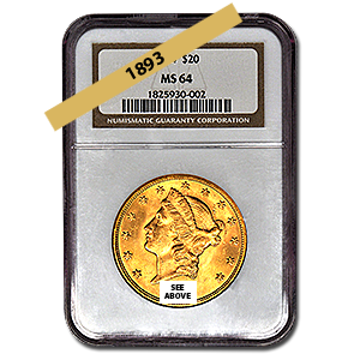 Picture of 1893 $20 Gold Liberty Double Eagle Coin MS64