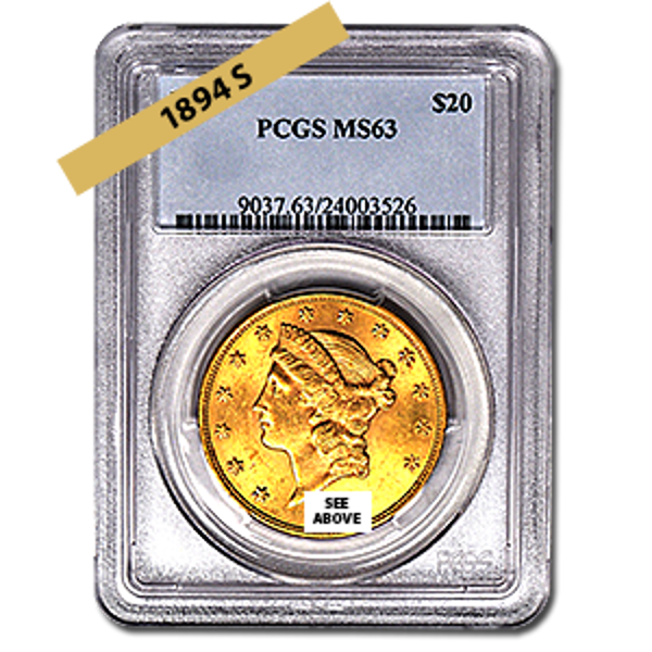 Picture of 1894S $20 Gold Liberty Double Eagle Coin MS63