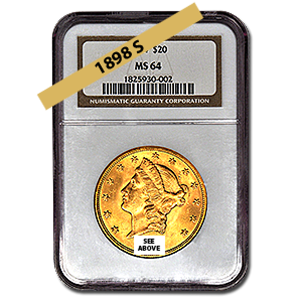 Picture of 1898S $20 Gold Liberty Double Eagle Coin MS64