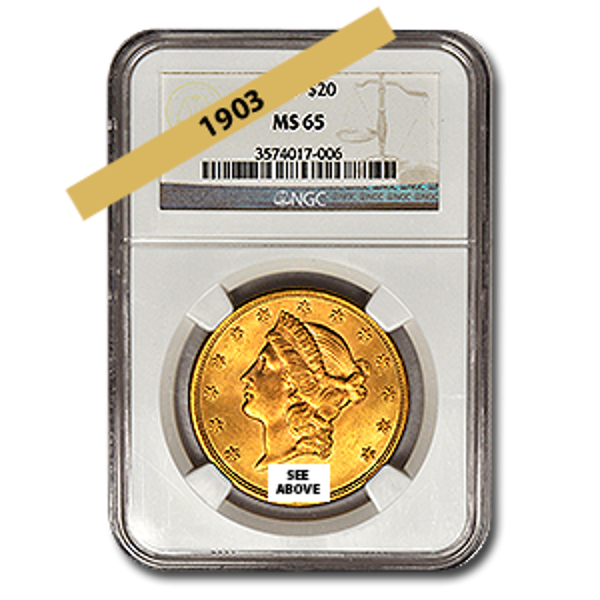 Picture of 1903 $20 Gold Liberty Double Eagle Coin MS65