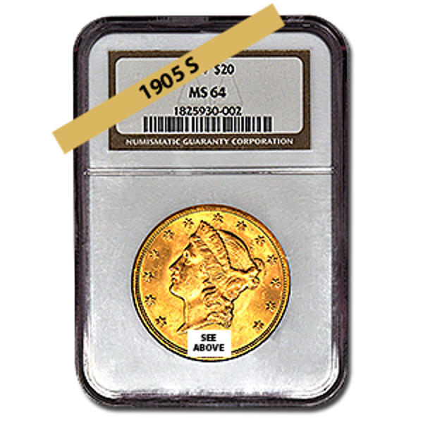 Picture of 1905S $20 Gold Liberty Double Eagle Coin MS63