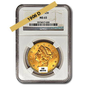 Picture of 1906D $20 Gold Liberty Double Eagle Coin MS63