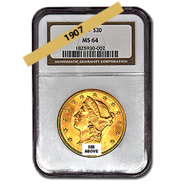 Picture of 1907 $20 Gold Liberty Double Eagle Coin MS64