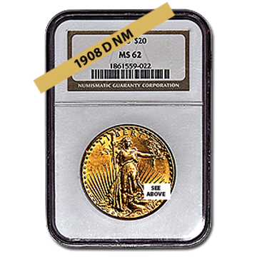 Picture of 1908DNM $20 Gold Saint Gaudens Double Eagle Coin MS62