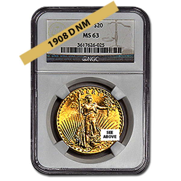 Picture of 1908DNM $20 Gold Saint Gaudens Double Eagle Coin MS63
