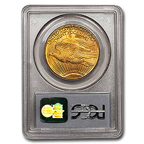 Picture of 1908DWM $20 Gold Saint Gaudens Double Eagle Coin MS66