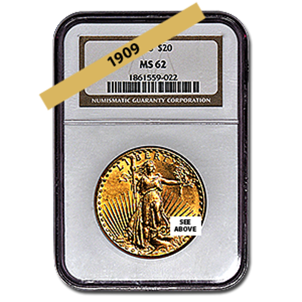 Picture of 1909 $20 Gold Saint Gaudens Double Eagle Coin MS62