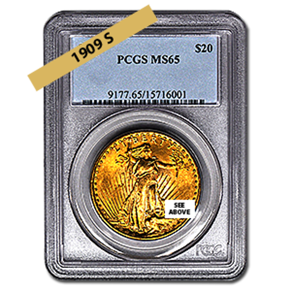 Picture of 1909S $20 Gold Saint Gaudens Double Eagle Coin MS65