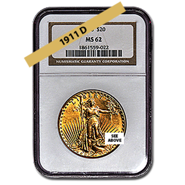 Picture of 1911D $20 Gold Saint Gaudens Double Eagle Coin MS62*