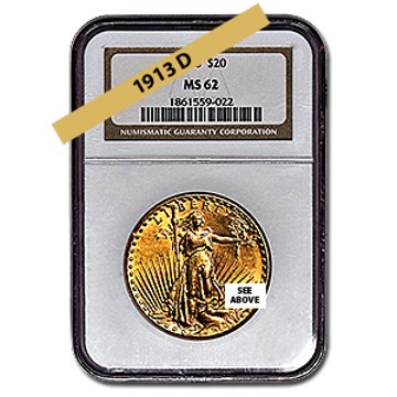 Picture of 1913D $20 Gold Saint Gaudens Double Eagle Coin MS62
