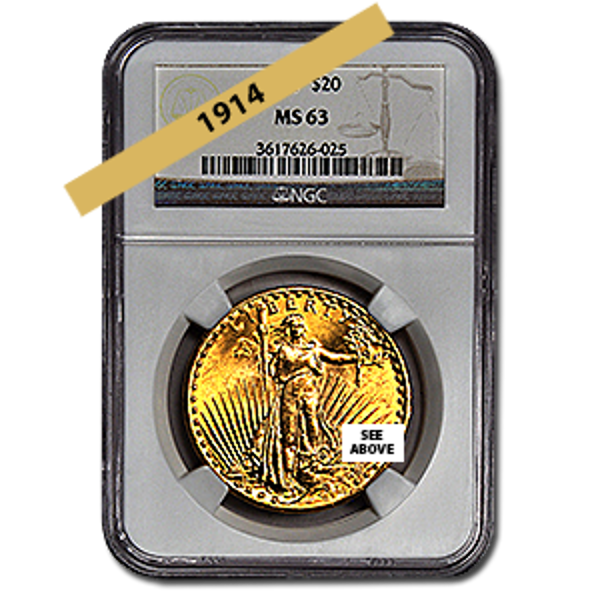 Picture of 1914 $20 Gold Saint Gaudens Double Eagle Coin MS63