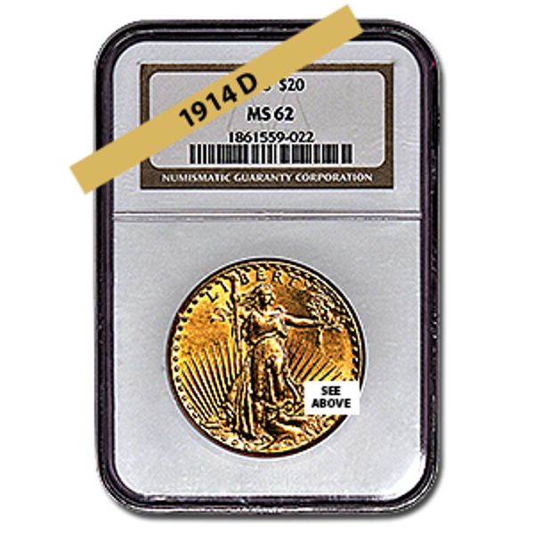 Picture of 1914D $20 Gold Saint Gaudens Double Eagle Coin MS62