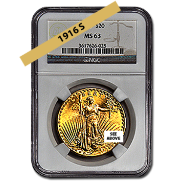 Picture of 1916S $20 Gold Saint Gaudens Double Eagle Coin MS63