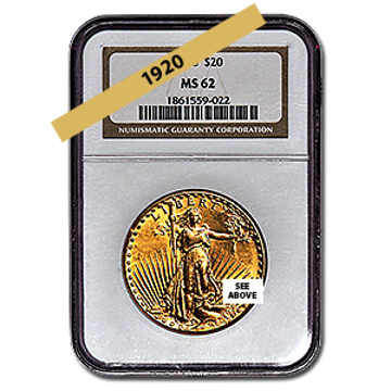 Picture of 1920 $20 Gold Saint Gaudens Double Eagle Coin MS62