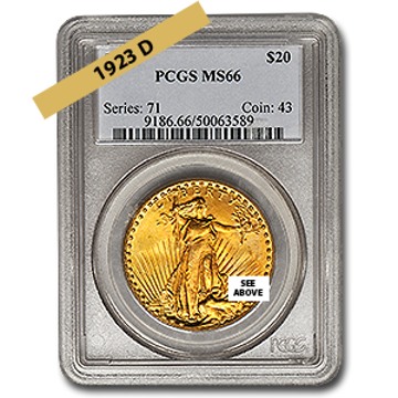 Picture of 1923D $20 Gold Saint Gaudens Double Eagle Coin MS66