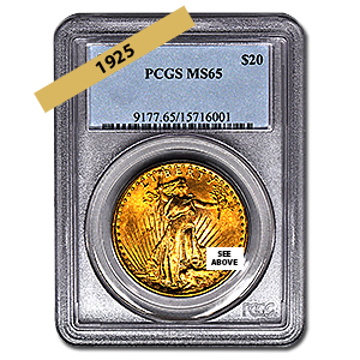 Picture of 1925 $20 Gold Saint Gaudens Double Eagle Coin MS65