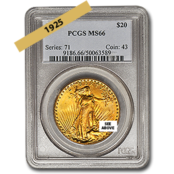 Picture of 1925 $20 Gold Saint Gaudens Double Eagle Coin MS66