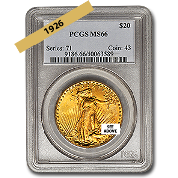 Picture of 1926 $20 Gold Saint Gaudens Double Eagle Coin MS66