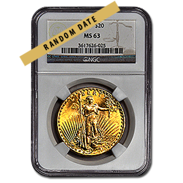 Picture of $20 Saint-Gaudens Gold Coins MS 63