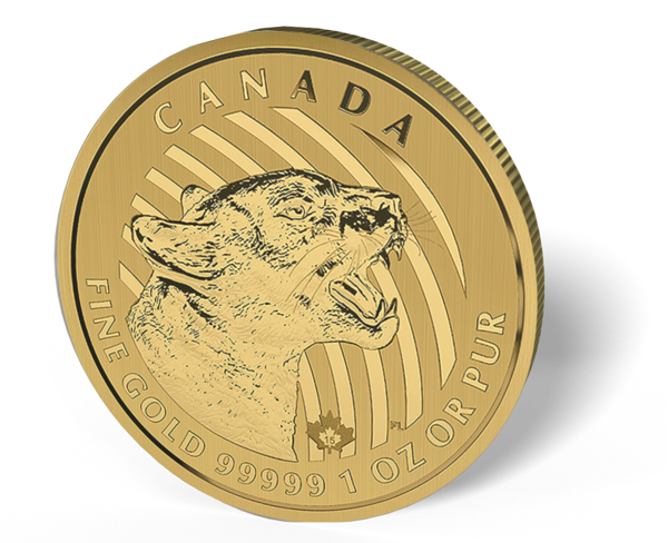 Picture of 2015 1 oz Canadian Gold Maple Leaf Growling Cougar