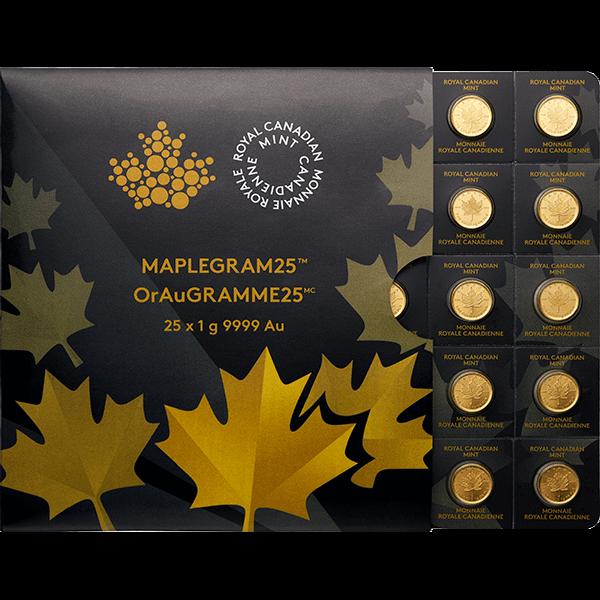 Picture of 25 Gram Canadian Gold Maple Leaf Maplegram