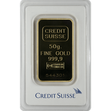 Picture of 50 Gram Credit Suisse Gold Bar