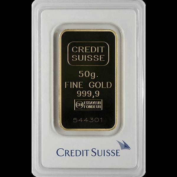 Picture of 50 Gram Credit Suisse Gold Bar