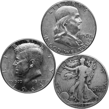 Picture of 90% Junk Silver $1 Face Value Halves - Our Choice