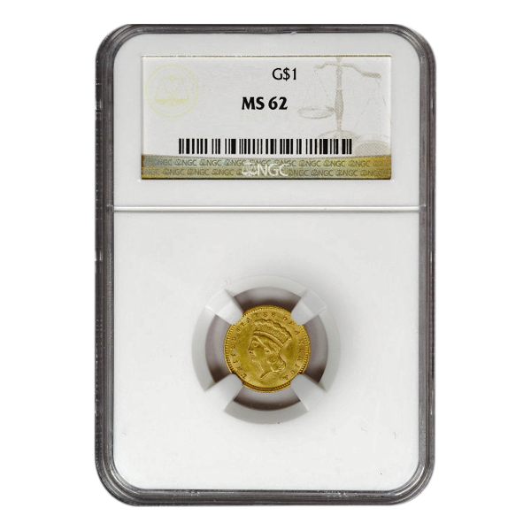 Picture of $1 Gold Coins Type 3 MS62