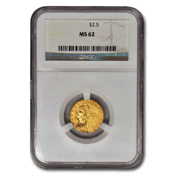 Picture of $2.5 Indian Head Gold Coins MS 62
