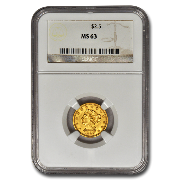 Picture of $2.5 Liberty Gold Coins MS 63