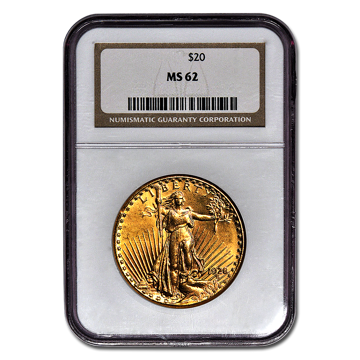 Picture of $20 Saint-Gaudens Gold Coins MS 62