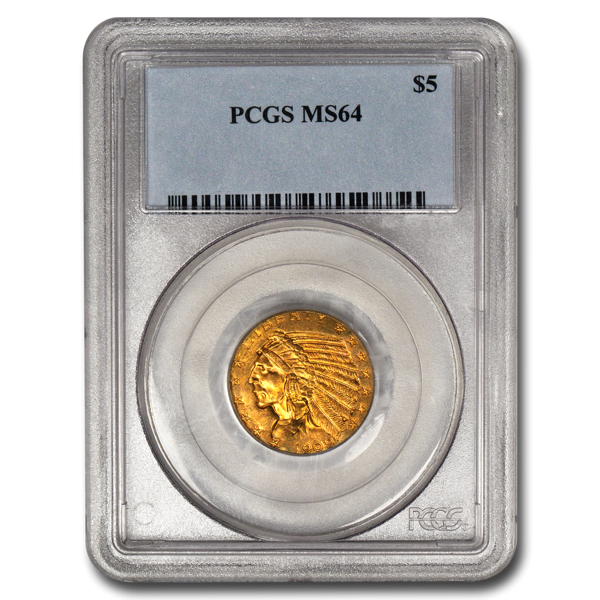 Picture of $5 Indian Head Gold Coins MS 64