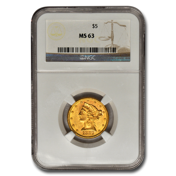 Picture of $5 Liberty Gold Coins MS 63