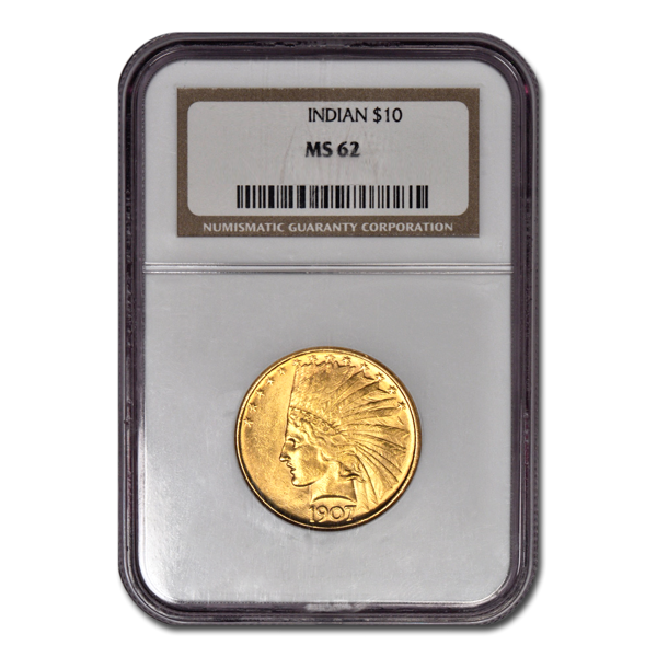Picture of 1908D NM $10 Indian Gold Coin MS62