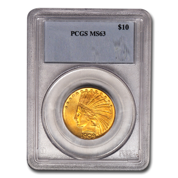 Picture of 1908D NM $10 Indian Gold Coin MS63