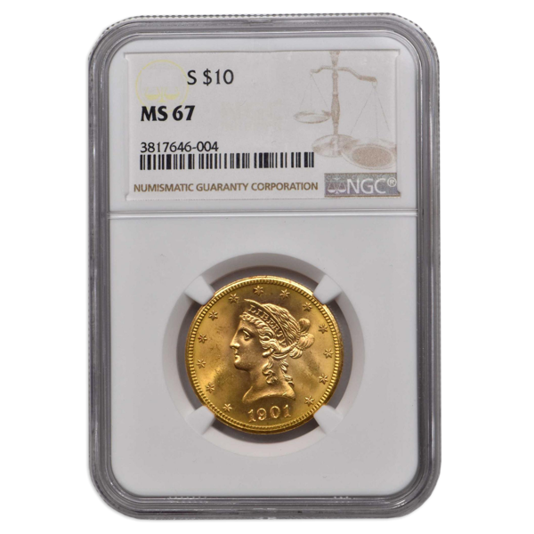 Picture of 1893 $10 Liberty Gold Coin MS67