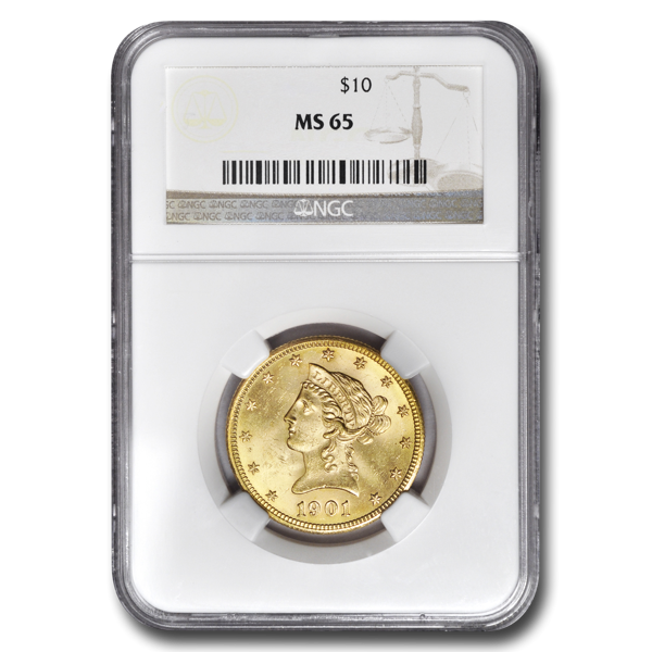 Picture of 1907D $10 Liberty Gold Coin MS65