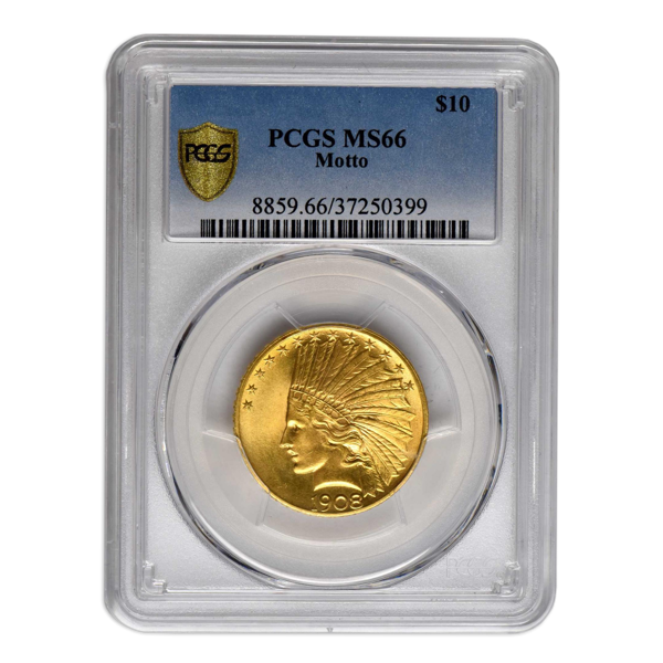 Picture of 1908NM $10 Indian Gold Coin MS66